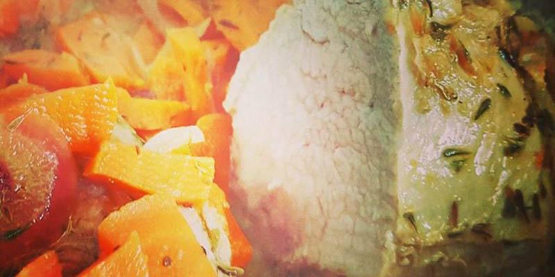 Arrosto con carote e cipolla caramellata